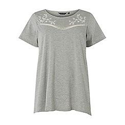 Dorothy Perkins - Curve grey embroidered yoke t-shirt
