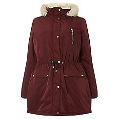 Dorothy Perkins - Curve burgundy puffer jacket