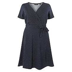 Dorothy Perkins - Curve navy spotted wrap fit and flare dress