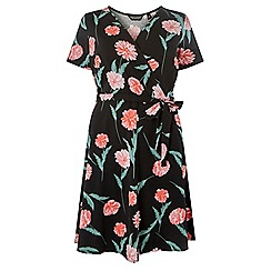 Dorothy Perkins - Curve black blossom print wrap fit and flare dress