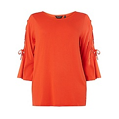 Dorothy Perkins - Curve red lattice sleeve t-shirt