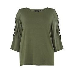 Dorothy Perkins - Curve khaki lattice sleeve t-shirt