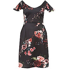 Dorothy Perkins - Curve black floral scuba fit and flare dress
