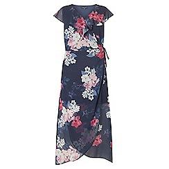 Dorothy Perkins - Curve navy floral print chiffon maxi dress