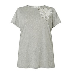 Dorothy Perkins - Curve grey floral applique t-shirt