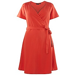 Dorothy Perkins - Curve red midi wrap dress