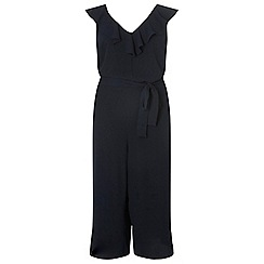 Dorothy Perkins - Curve navy ruffle tie jumpsuit