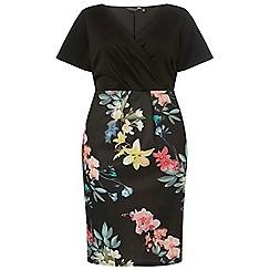 Dorothy Perkins - Curve black floral print scuba wrap dress