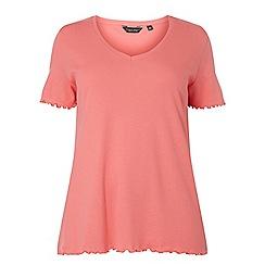 Dorothy Perkins - Curve pink ruffle t-shirt
