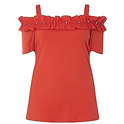 Dorothy Perkins - Curve red gem woven ruffle top