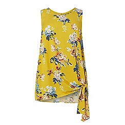 Dorothy Perkins - Curve ochre floral print side knot shell top