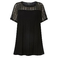 Dorothy Perkins - Curve black lace front t-shirt