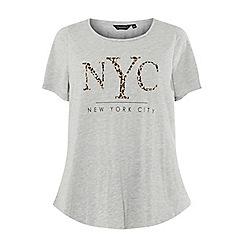 Dorothy Perkins - Curve grey nyc leopard motif t-shirt