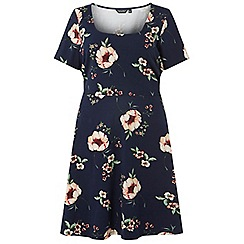 Dorothy Perkins - Curve navy floral fit and flare dress