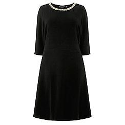 Dorothy Perkins - Curve black embellished neck fit and flare dress