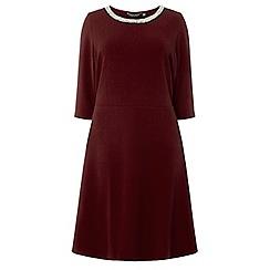 Dorothy Perkins - Curve wine embellished neck fit and flare dress