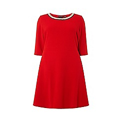 Dorothy Perkins - Curve red embellished neck fit and flare dress