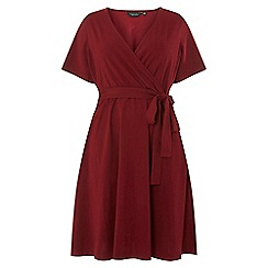 Dorothy Perkins - Curve burgundy short sleeve fit and flare dress
