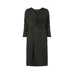 Dorothy Perkins - Curve black lurex knot front midi skater dress