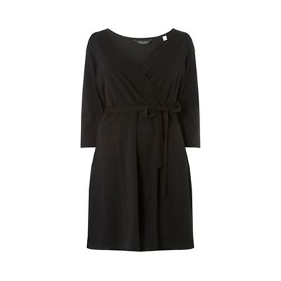 Dorothy Perkins   Curve Black 3/4 Sleeve Wrap Dress by Dorothy Perkins