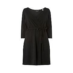 Dorothy Perkins - Curve black 3/4 sleeve wrap dress