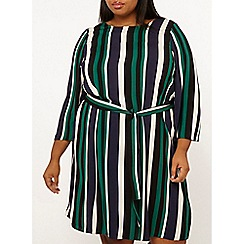 Dorothy Perkins - Curve Multi Colour Stripe Tie Waist Skater Dress