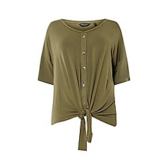 Dorothy Perkins - Curve Khaki Button Down Knot Detail T-Shirt