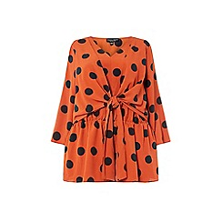 Dorothy Perkins - Curve Spot Print Manipulated Tie Blouse