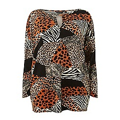 Dorothy Perkins - Curve multi coloured leopard mix print batwing top
