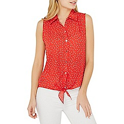 Dorothy Perkins - Red spotted tie sleeveless shirt