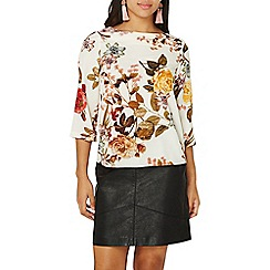 Dorothy Perkins - Ivory floral 3/4 sleeve top