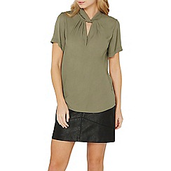 Dorothy Perkins - Khaki twist neck top