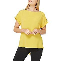 Dorothy Perkins - Ochre button sleeves zip t-shirt
