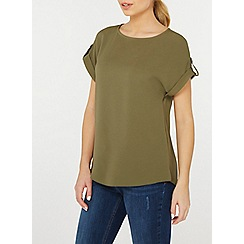 Dorothy Perkins - Khaki button sleeve zip t-shirt