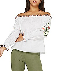 Dorothy Perkins - Ivory embroidered frill bardot top