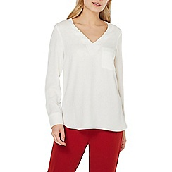Dorothy Perkins - Ivory embellished pocket long sleeve top