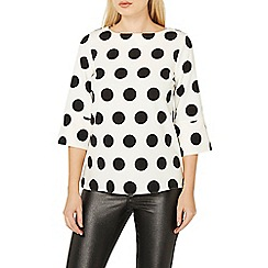 Dorothy Perkins - Ivory spotted 3/4 sleeve top