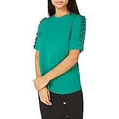 Dorothy Perkins - Green frill sleeve woven t-shirt