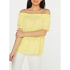 Dorothy Perkins - Lemon frill sleeve bardot top