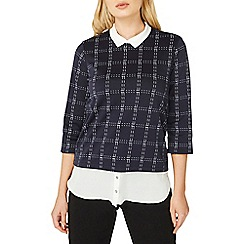 Dorothy Perkins - Navy checked  2 in 1 top