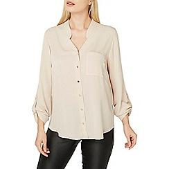 Dorothy Perkins - Stone notch neck roll sleeves shirt