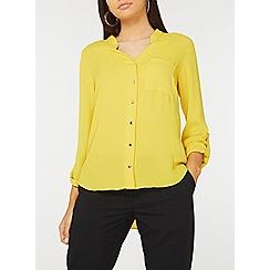 Dorothy Perkins - Ochre notch neck roll sleeve shirt