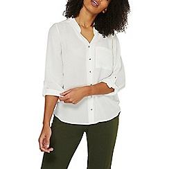Dorothy Perkins - Ivory notch neck roll sleeves shirt