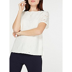 Dorothy Perkins - Ivory lace short sleeve t-shirt