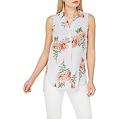 Dorothy Perkins - Grey floral sleeveless shirt