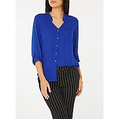 Dorothy Perkins - Cobalt notch neck roll sleeve shirt