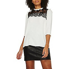 Dorothy Perkins - Ivory lace insert 3/4 sleeve top