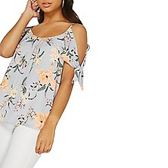 Dorothy Perkins - Grey floral cold shoulder top