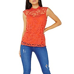 Dorothy Perkins - Coral lace sleeveless top