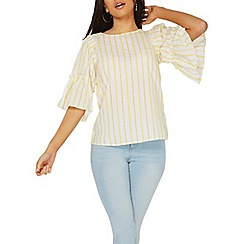 Dorothy Perkins - Yellow broderie stripe top